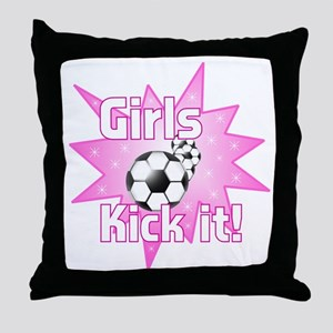 Girls Kick It Throw Pillow