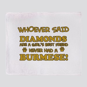 Burmese cat vector designs Throw Blanket
