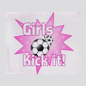Girls Kick It Throw Blanket