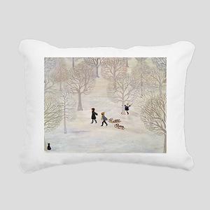 Tobogganing - Rectangular Canvas Pillow