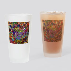 Circus of faces, colors and shapes. Drinking Glass
