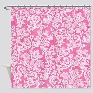 Bright Pink and White Lace Shower Curtain
