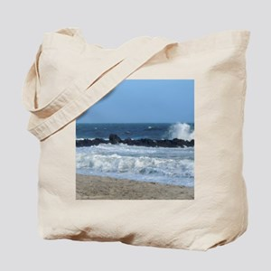Ocean Beach Rocks Cape May Shower Curtain Tote Bag