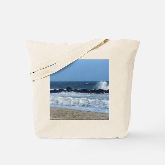 Ocean Beach Rocks Cape May Shower Curtain Tote Bag