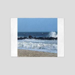 Ocean Beach Rocks Cape May Shower Curtain 5'x7'Are