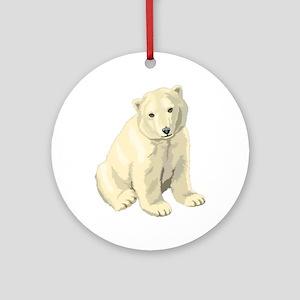 Cute White Polar Bear Round Ornament