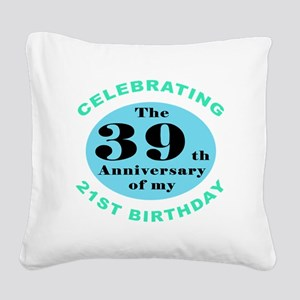 60th Birthday Humor Square Canvas Pillow