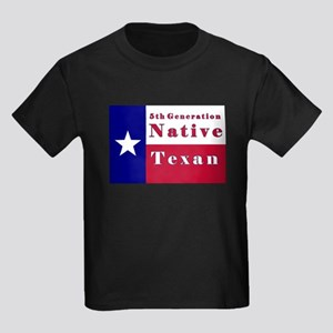 5th Generation Native Texan Flag Kids Dark T-Shirt
