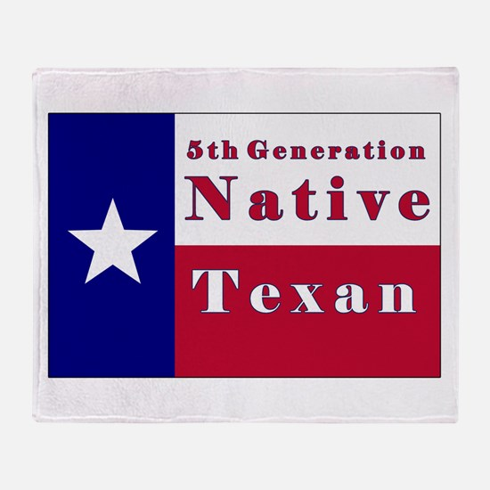 5th Generation Native Texan Flag Throw Blanket