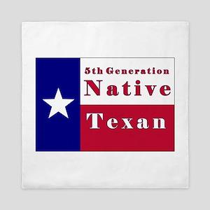 5th Generation Native Texan Flag Queen Duvet