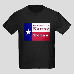 6th Generation Native Texan Flag Kids Dark T-Shirt