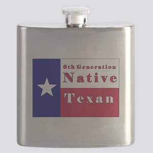 6th Generation Native Texan Flag Flask