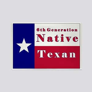 6th Generation Native Texan Flag Rectangle Magnet