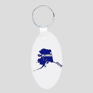 Alaska Flag Aluminum Oval Keychain