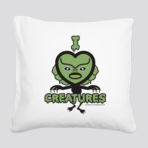I Heart Creatures Square Canvas Pillow