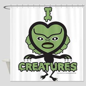 I Heart Creatures Shower Curtain