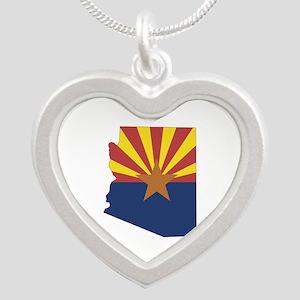 Arizona Flag Silver Heart Necklace