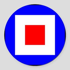 Nautical Flag Code Whiskey Round Car Magnet
