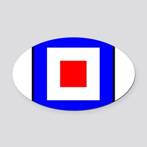 Nautical Flag Code Whiskey Oval Car Magnet