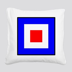 Nautical Flag Code Whiskey Square Canvas Pillow
