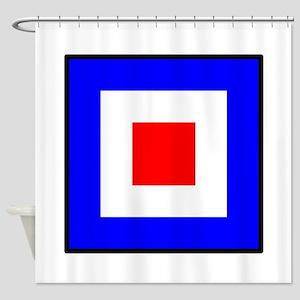 Nautical Flag Code Whiskey Shower Curtain