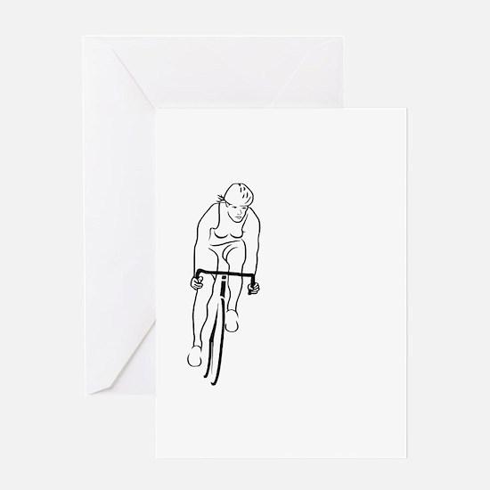 Cycle Woman Greeting Card