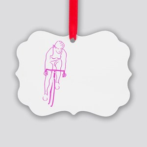 Cycle Woman Picture Ornament
