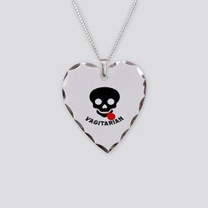 Vagitarian Skull & Tongue Necklace Heart Charm