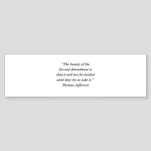 Jefferson - Second Amendment Bumper Sticker