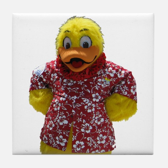 Duckie, the Float Like A Duck Mascot Tile Coaster