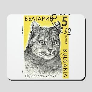 Vintage 1989 Bulgaria Tiger Cat Postage Stamp Mous