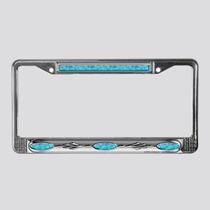 Turquoise & Silver License Plate Frame