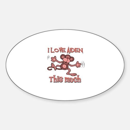 I love Aiden this much Sticker (Oval)
