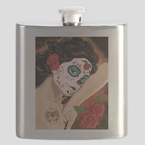 Blue Skull - dia de los muertos Pin-up Flask