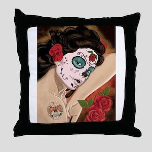 Blue Skull - dia de los muertos Pin-up Throw Pillo