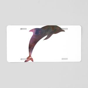 Cosmic Dolphin Aluminum License Plate