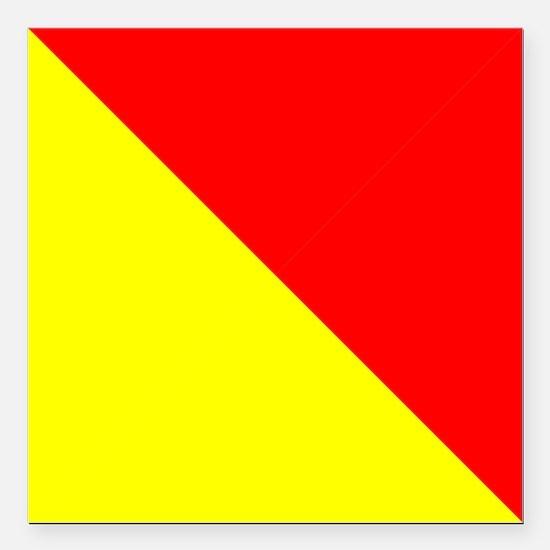 """Nautical Flag Code Oscar Square Car Magnet 3"""" x 3"""""""