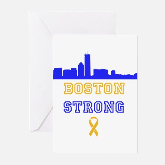 Boston Strong Skyline Blue and Gold Greeting Cards