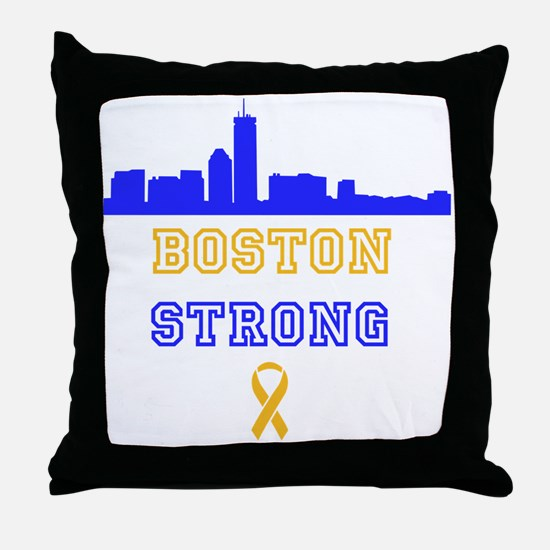 Boston Strong Skyline Blue and Gold Throw Pillow