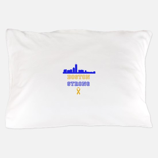 Boston Strong Skyline Blue and Gold Pillow Case