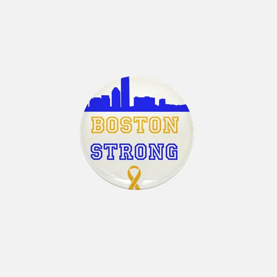Boston Strong Skyline Blue and Gold Mini Button
