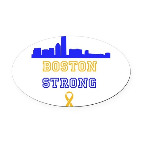 Boston Strong Skyline Blue and Gold Oval Car Magne