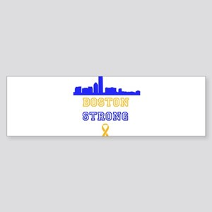 Boston Strong Skyline Blue and Gold Bumper Sticker
