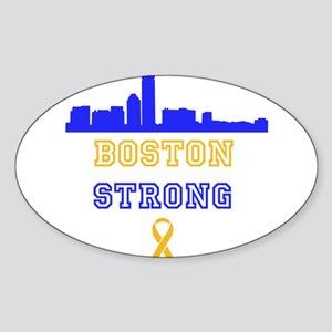 Boston Strong Skyline Blue and Gold Sticker