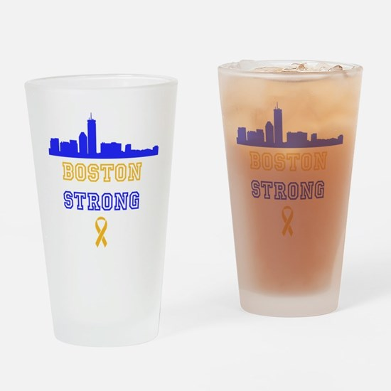 Boston Strong Skyline Blue and Gold Drinking Glass