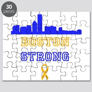 Boston Strong Skyline Blue and Gold Puzzle