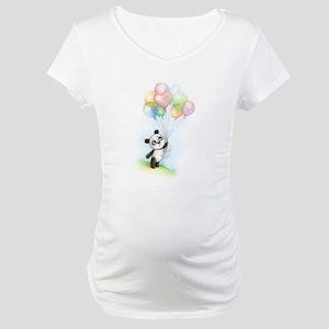 Panda and balloons Maternity T-Shirt