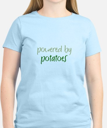 Powered By potatoes Women's Pink T-Shirt