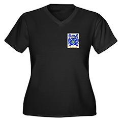 Caffin Women's Plus Size V-Neck Dark T-Shirt