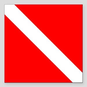 "Dive Flag 1 Square Car Magnet 3"" x 3"""